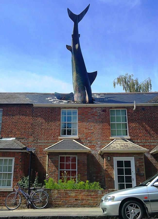 escultura tubarão oxford reino unido